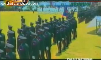 Michel Martelly Passing Haitian Police In Review