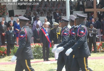 Haiti National Police Saluting The New Haitian President