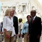 Picture Of Dr. Jill Biden And Mrs. Michelle Obama In Haiti With Rene Preval