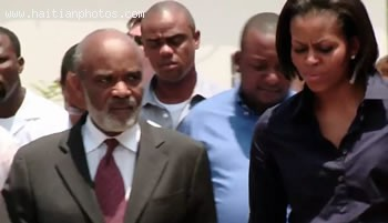Michelle Obama And Rene Preval Following Haiti Earthquake