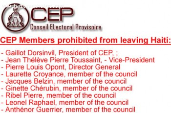 Members of the CEP prohibited from leaving Haiti after election