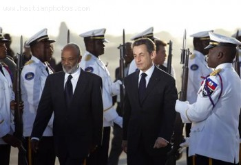 French President Nicolas Sarkozy visits Haiti