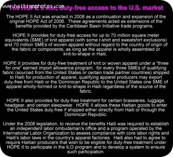 The HOPE Act duty-free access to the U.S. market, An opportunity for Haiti to export