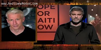Hope For Haiti Telethon, Anderson Cooper Interviewing George Clooney Interview
