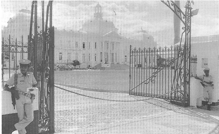 Haiti National Palace, Guarded By Two Military