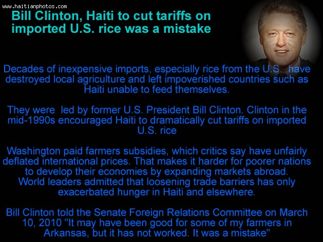 Haiti Rice And Bill Clinton Apology