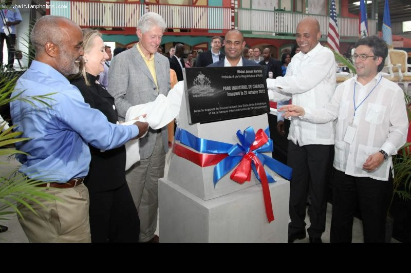 Rene Preval, Michel Martelly, Hillary Clinton, Bill Clinton At Caracol Industrial Park Inauguration