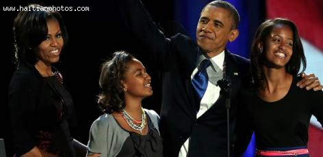 Barack Obama and Family at the Victory party