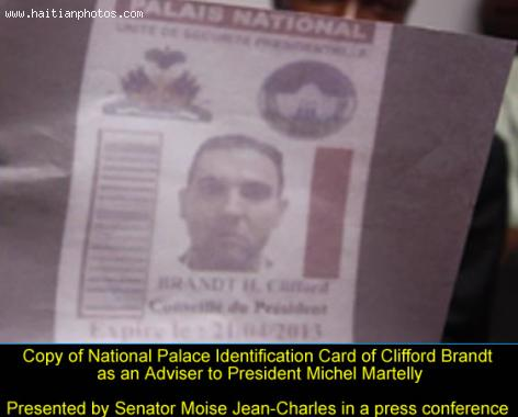 Clifford Brandt National Palace Identification Card