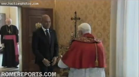 Haitian president Michel Martelly and family met Pope Benedict XVI in Rome