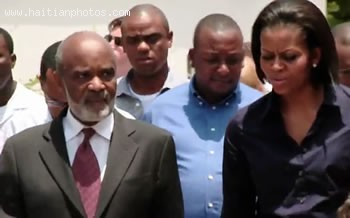 Michelle Obama And Rene Preval During Her Visit To Haiti