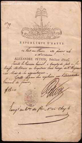 Picture of a letter from Alexandre Petion