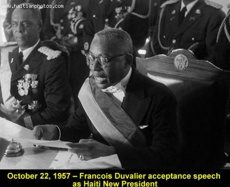 Frincois Duvalier, the first Day of his presidency