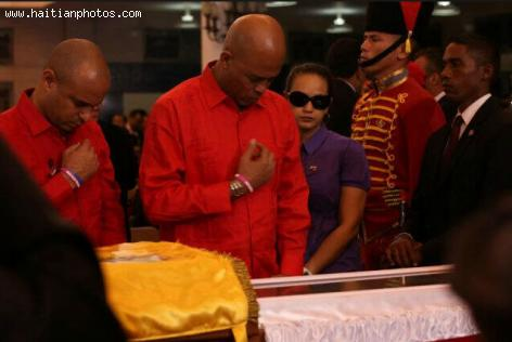 Michel Martelly and Laurent Lamother at Hugo Chavez Funeral
