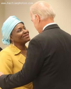 Vice-President Joe Biden Greeting Haitian Activist Marleine Bastien