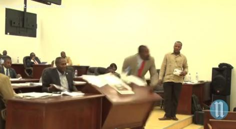 Deputy Arnel Belizaire in Haitian Parliament in Rage