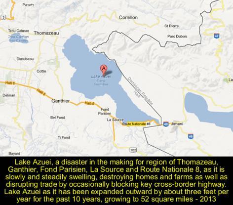 Lake Azuei a danger for Thomazeau, Ganthier, Fond Parisien