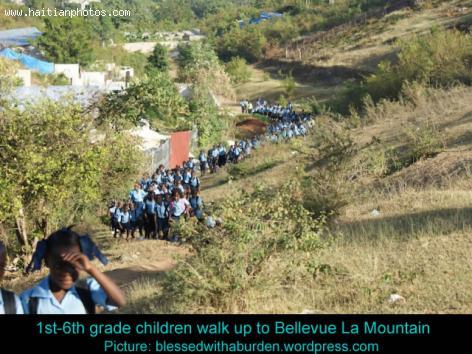 School children walking to Bellevue Mountain