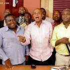 Michel Martelly and the staff of Matin Caraibes at Radio Caraibes