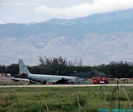 Engine fire Brazilian Air Force plane Forca Aerea Brasileira in Haiti