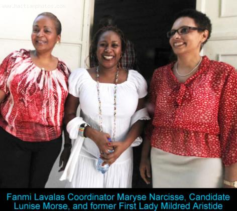Maryse Narcisse, Candidate Lunise Morse, and Mildred Aristide