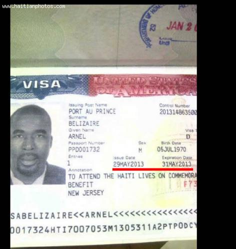 Arnel Belizaire issued two Day US Visa