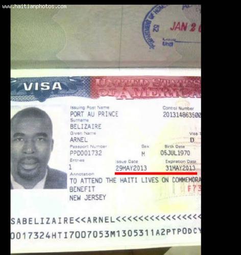 Arnel Belizaire issued two Day US Visa