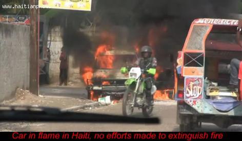 Car burning in Haiti