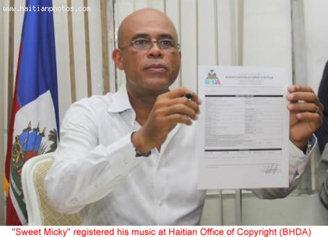 Michel Martelly at Haitian Office of Copyright (BHDA)