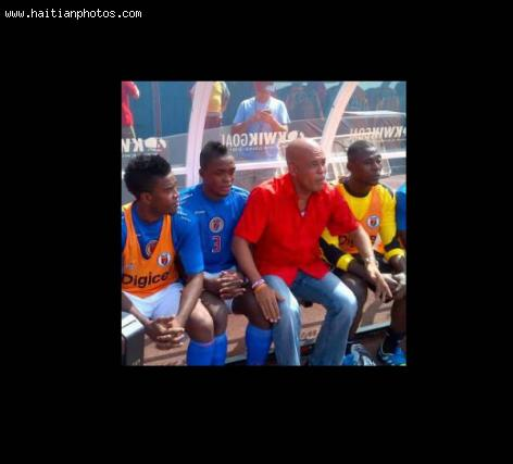 Michel Martelly supporting Haitian Team playing against Spain