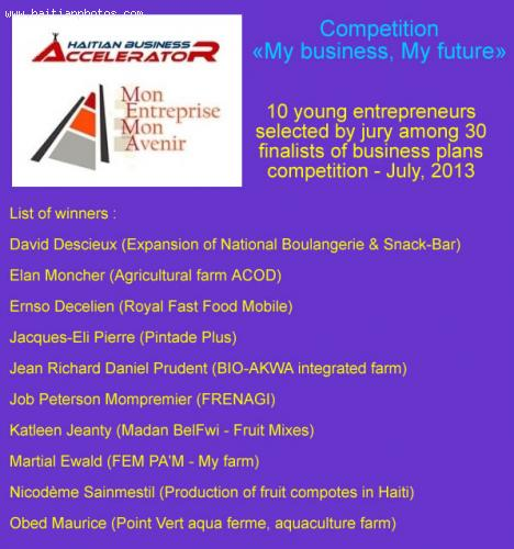 My business, My future, entrepreneurs in business plans competition