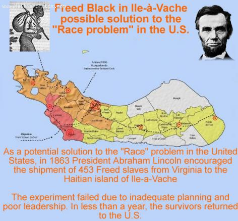 Freed Black shipped to Ile-a-vache with support of President Abraham Lincoln