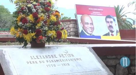Venezuelan President Nicolas - Alexandre Petion downtown Port-au-Prince