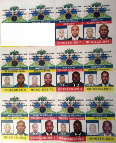 List of fake ID Cards and Badges distributed by  Ernest Laventure Edouard, Moloskot,