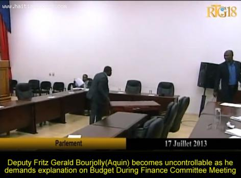 Deputy Fritz Gerald Bourjolly uncontrollable During Finance Committee