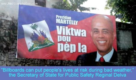 Storm Tips in Haiti - Billboard Danger