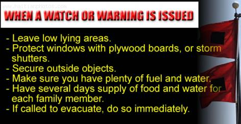 Storm Tips - Hurricane Watch or Warning