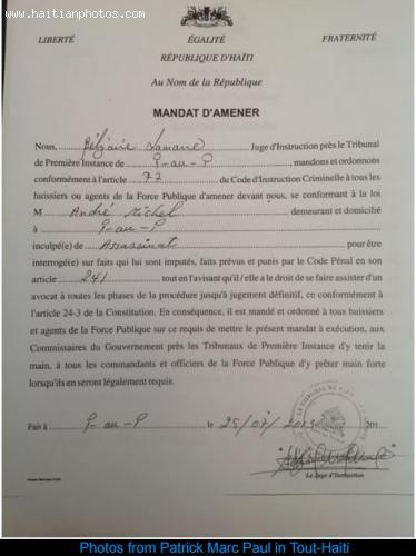 Mandat d'Amener, to Andre Michel - Tout Haiti