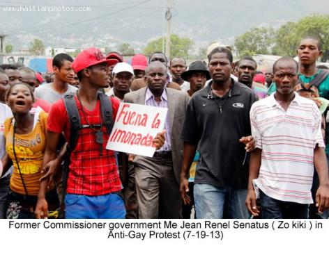 Jean Renel Senatus during Anti Gay Protest