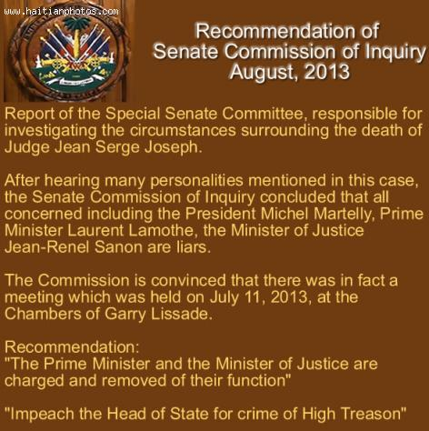 Recommendation of Senate Commission of Inquiry -  Death of Judge Jean Serge Joseph