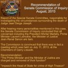 Recommendation Senate Commission