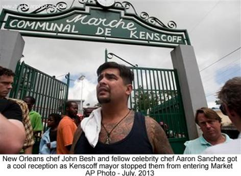 Chef Aaron Sanchez and New Orleans Chef John Besh in Kenskoff, Haiti