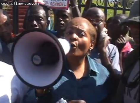 Dr. Maryse Narcisse at Anti Martelly Protest