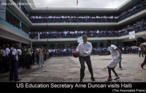 US Education Sec. Arne Duncan in Haiti