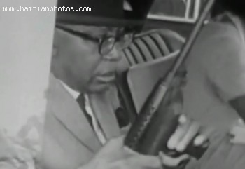 Francois Duvalier And His Machine Gun