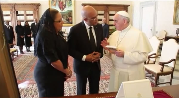 Michel Martelly and Pope Francis in Vatican