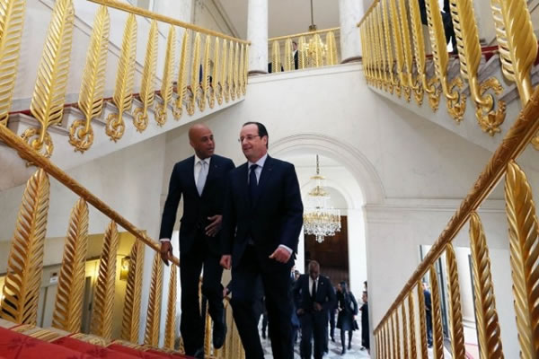 Michel Martelly at Elysee Palace with François Hollande