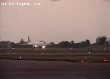 The Airplane Transporting Jean-Claude Duvalier Arriving In Haiti