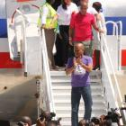 Michel Martelly and Laurent Lamothe on First American Airlines flight to Cap-Haitian