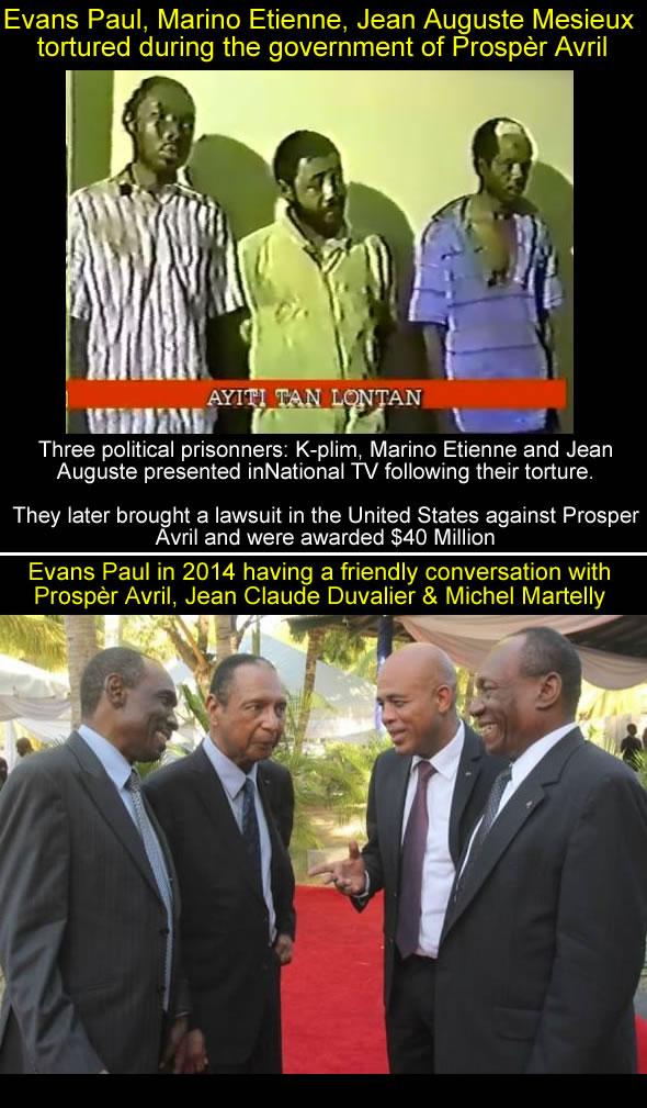 Evans Paul, Prosper Avril, Jean Claude Duvalier, from Abuse to friendship